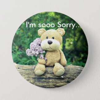 I'm so sorry bear 3 inch round button