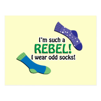 I'm such a rebel, I wear odd socks! Postcard