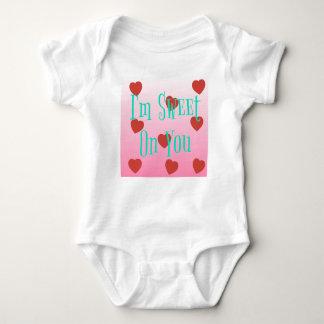 I'm Sweet On You   Custom Valentine's Day Hearts Baby Bodysuit
