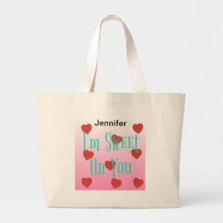 I'm Sweet On You | Custom Valentine's Day Hearts Large Tote Bag