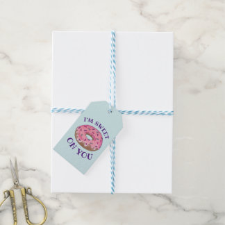 I'm Sweet On You Pink Donut Doughnut Foodie Love Gift Tags