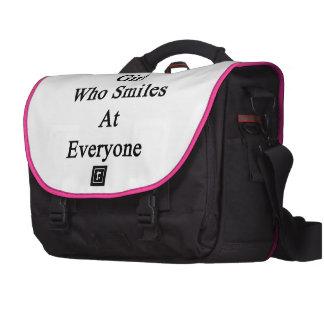 I'm That Girl Who Smiles At Everyone Laptop Messenger Bag