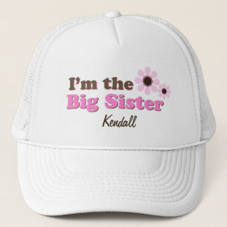 I'm The Big Sister Mod Flowers Personalized Trucker Hat