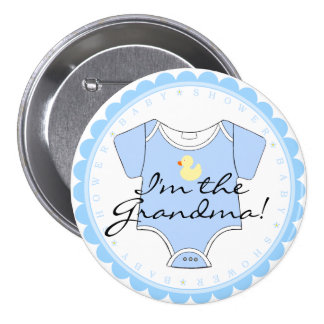 I'm The Grandma Blue Scalloped Yellow Duck Shower 3 Inch Round Button
