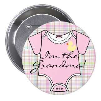 I'm The Grandma on Pink Plaid with Yellow Duck 3 Inch Round Button