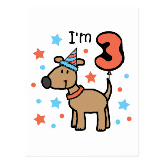 I'm Three Doggie Postcard