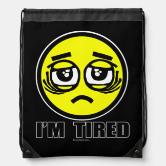 I'm tired drawstring bag