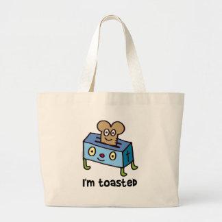 I'm toasted large tote bag