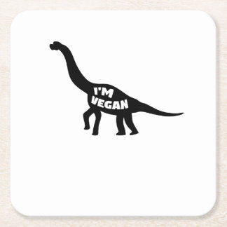 i'm vegan  Herbivore Dinosaur Vegetarian Gift Square Paper Coaster
