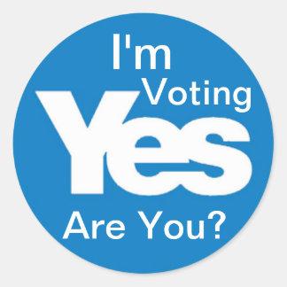 """I'm Voting Yes 3"""" sticker"""