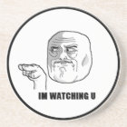 I'm Watching U Comic Face. Coaster