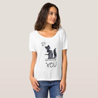 """I'm watching you"" creepy cat tee shirt."