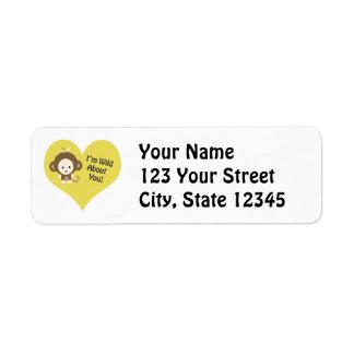 I'm Wild about You Monkey Return Address Label