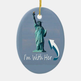 I'm With Her! Ceramic Oval Ornament