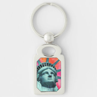 I'm with her - Lady Liberty - Statue of Liberty Silver-Colored Rectangle Keychain