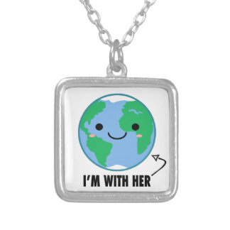 I'm With Her - Planet Earth Day Silver Plated Necklace