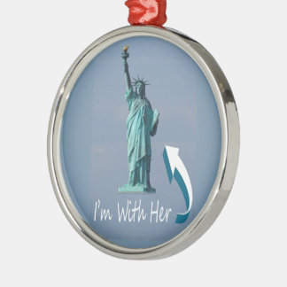 I'm With Her! Silver-Colored Round Ornament