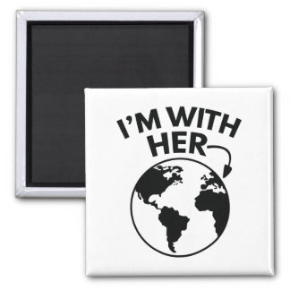 I'm With Her Square Magnet