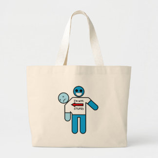I'm with Stupid w/ Twin Large Tote Bag