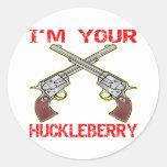 I'm Your Huckleberry 6 Guns Round Sticker