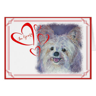 I'M YOURS VALENTINE CUTE WHITE YORKIE MIX CARD