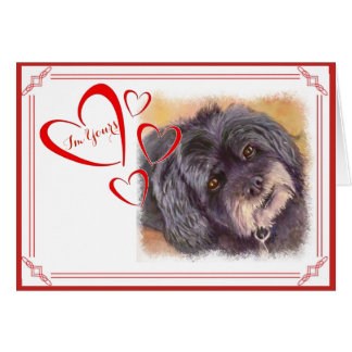 I'M YOURS VALENTINE CUTIE BLACK COCK-A-POO MIX CARD