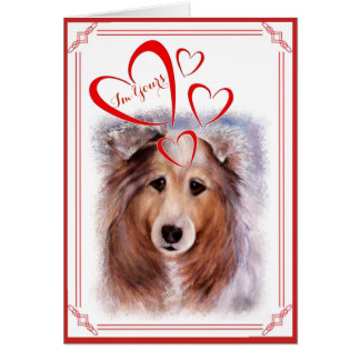 I'M YOURS VALENTINE GORGEOUS COLLIE CARD