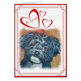 I'M YOURS VALENTINE SWEET BLACK HAVANESE CARD