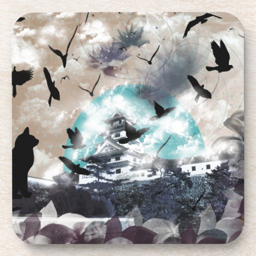 Imabari castle and flower and bird coasters