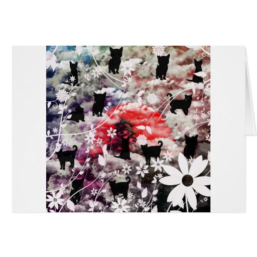 Imabari castle and flower and butterfly greeting cards