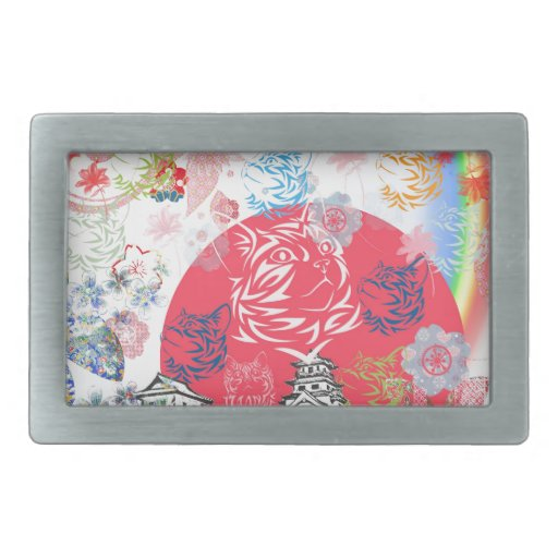 Imabari castle and flower and cat rectangular belt buckles
