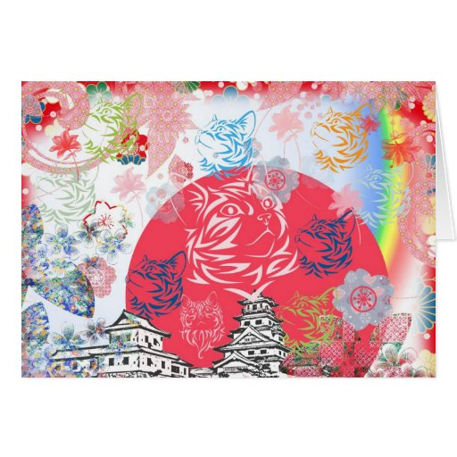 Imabari castle and flower and cat greeting card