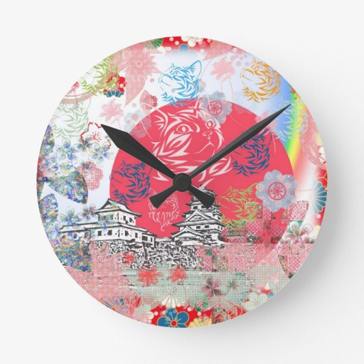 Imabari castle and flower and cat round clock
