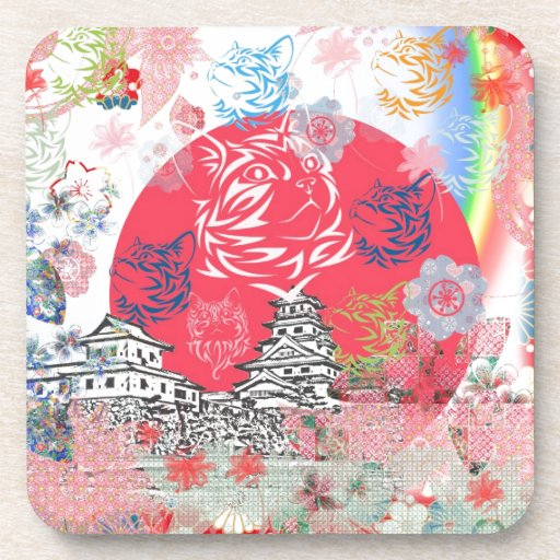 Imabari castle and flower and cat drink coaster