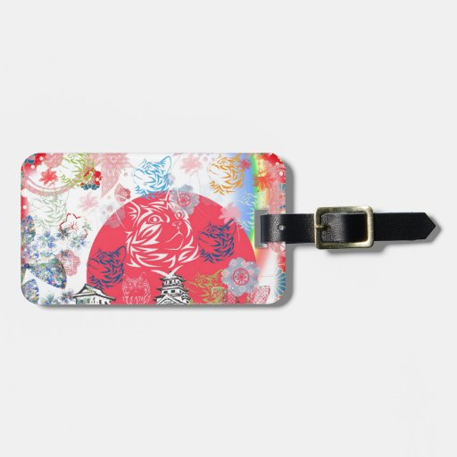 Imabari castle and flower and cat tag for luggage