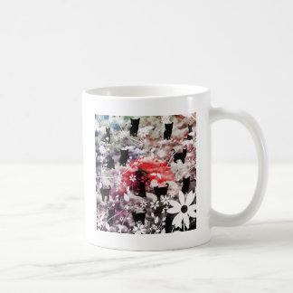 Imabari castle and flower and cat basic white mug