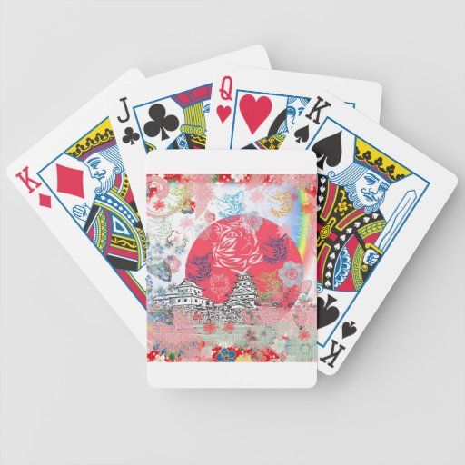 Imabari castle and flower and cat bicycle poker deck