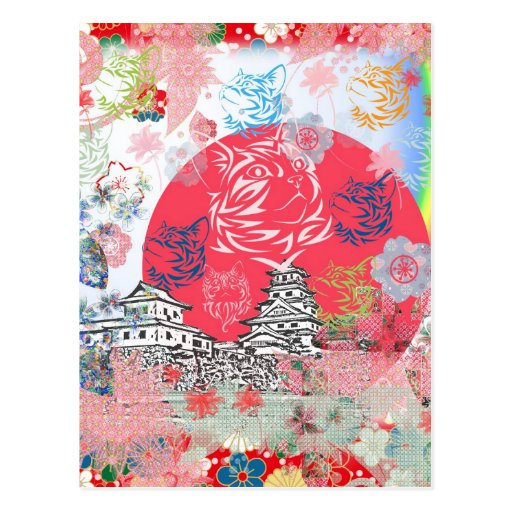 Imabari castle and flower and cat postcards