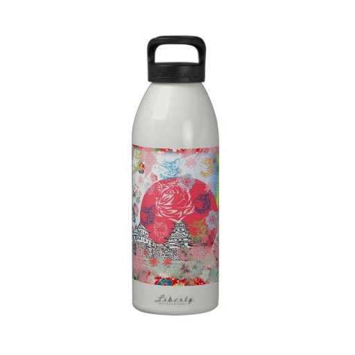 Imabari castle and flower and cat water bottles