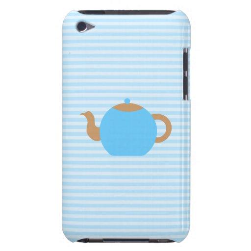 Image bleue de théière sur les rayures bleues coque iPod Case-Mate