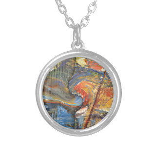 image in acrylic silver plated necklace