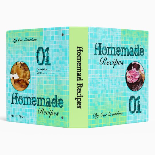 Image Insert Homemade Recipe Green Mosaic Binder
