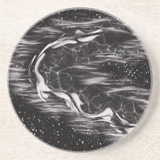image lack and White Abstract Beverage Coaster