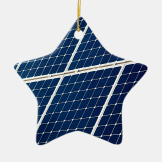 Image of a solar power panel funny ceramic star ornament