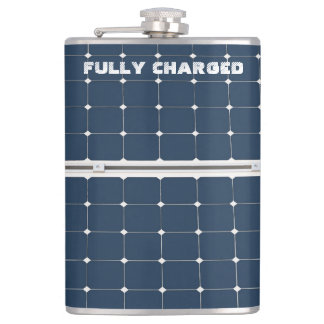 Image of a solar power panel funny hip flask