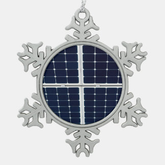 Image of a solar power panel funny snowflake pewter christmas ornament