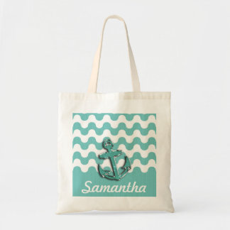 Image of Aqua Green Glitter Anchor on Wavy ZigZag Tote Bag