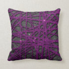 Image of black and purple stripe glitter throw pillow