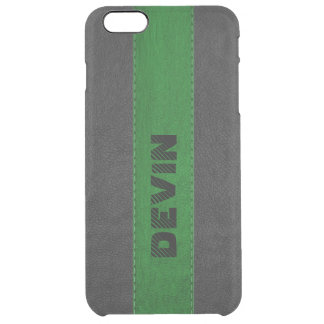 Image Of Black & green Stitched Leather Clear iPhone 6 Plus Case