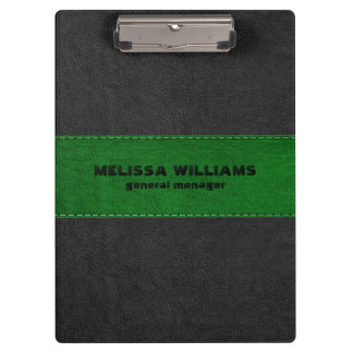 Image Of Black & Green Vintage Leather Stripes Clipboard